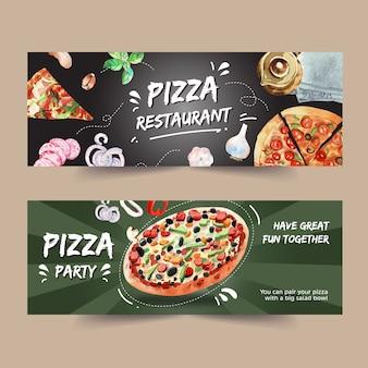 Pizza banner design with tea pot, pizza, hankie watercolor illustration.