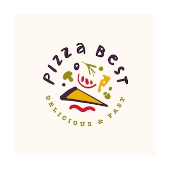 피자 바 로고 디자인 흰색 배경에 고립입니다. 패스트 푸드 아이콘 손으로 그린-피자 기호.