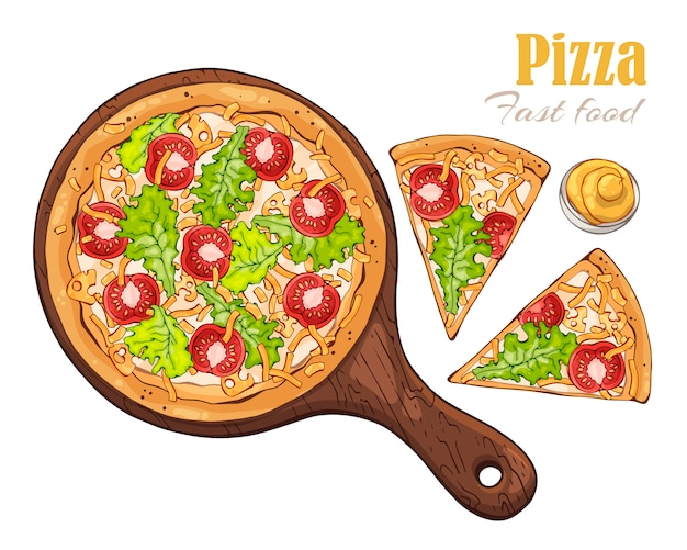 Pizza on a board.