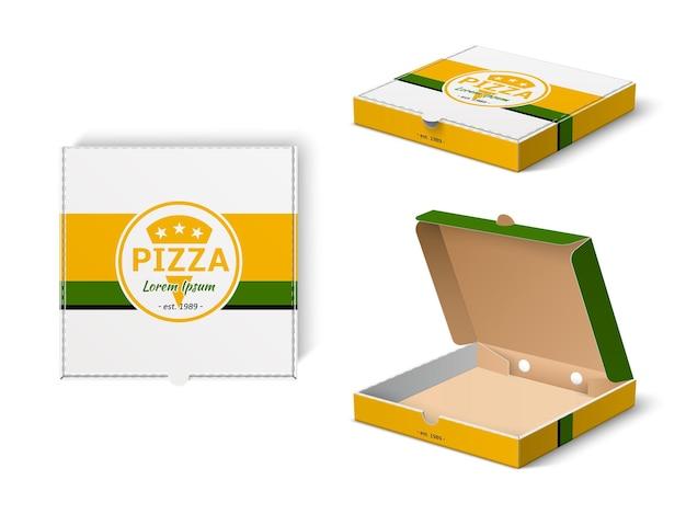 피자 상자 디자인입니다. 현실적인 패스트 푸드 모형, 피자 가게 로고가 있는 판지 브랜드 포장, 광고 엠블럼 벡터 세트가 있는 운송을 위한 레스토랑 배달 상자 템플릿