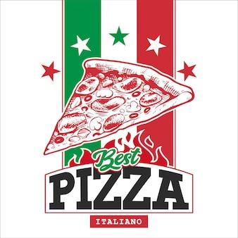 Шаблон дизайна коробки для пиццы. вручите оттянутый кусок пиццы на итальянском флаге со звездами и фигурами для текста.