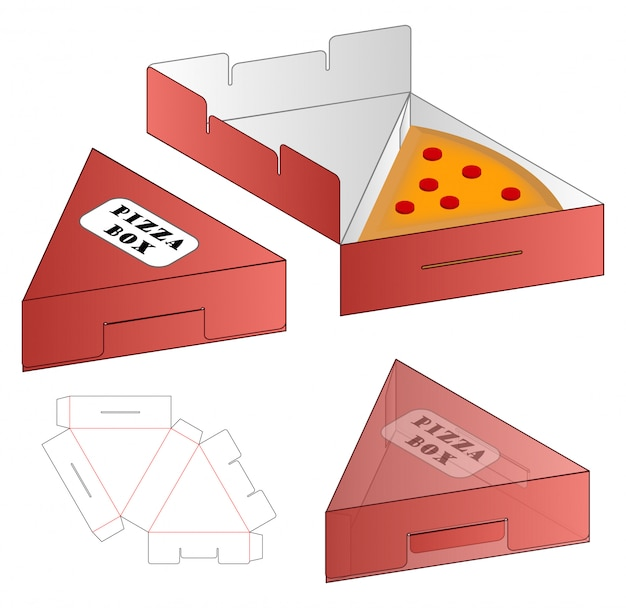 Pizza box packaging die cut template design. 3d