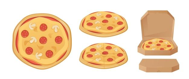 흰색 배경 벡터 일러스트 레이 션에 고립 된 피자 상자 세트