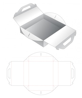 Pizza box with handle die cut template
