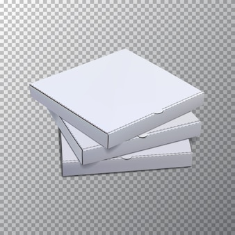 Pizza boxes  template isolated on transparent background.