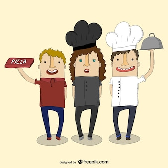 Pizza boy and chefs vector