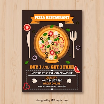 Brochure pizza con posate in design piatto