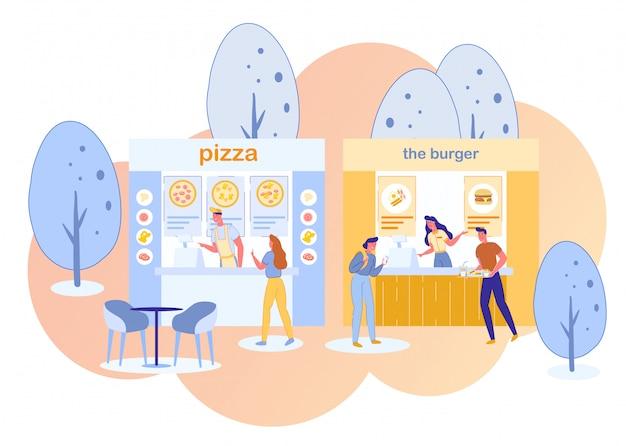 Pizza burger fast food street cafes customers.