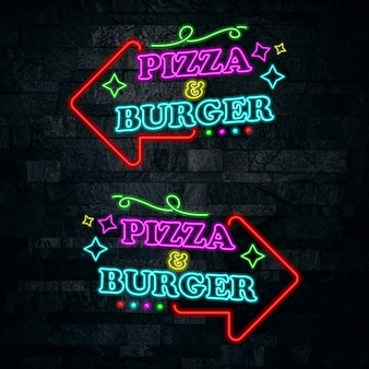 Pizza and burger neon lettering design