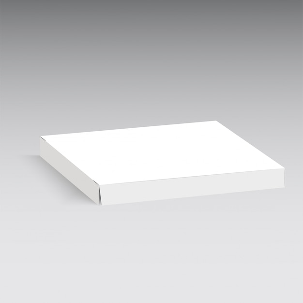 Pizza cardboard box isolated on grey background.