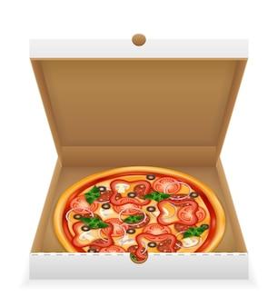 Pizza in cardboard box on white