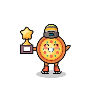 Pizza cartoon as an ice skating player hold winner trophy , cute style design for t shirt, sticker, logo element