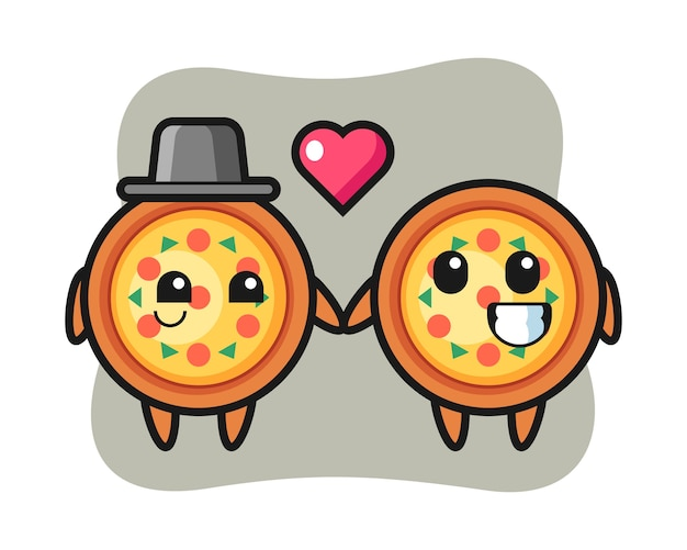 Pizza cartoon character couple with fall in love gesture