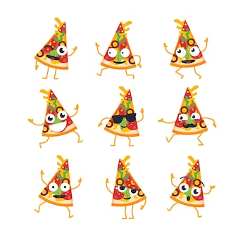 Пицца мультипликационный персонаж - современный векторный набор шаблонов иллюстраций талисмана. подарочные изображения кусочка пиццы, танцующего, улыбающегося, хорошо проводящего время. смайлики, счастье, прохлада`` удивление, эмоции
