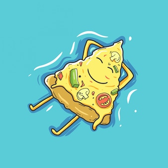 Pizza cartoon character relax in summer