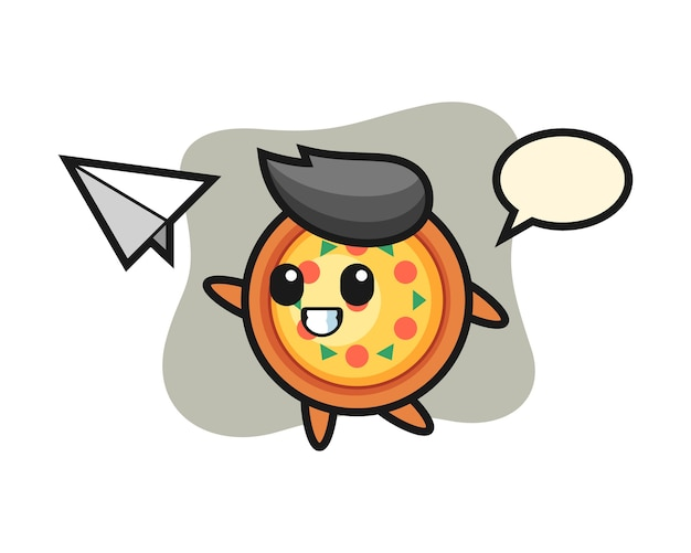 ピザの漫画のキャラクターが紙飛行機を投げる