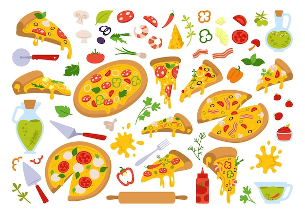 Pizza cartoon set, italian hand drawn pizzas with greens, pepper, tomato, olive, cheese, mushroom. margarita and hawaiian, pepperoni or seafood, mexican. pizza pieces and ingredients