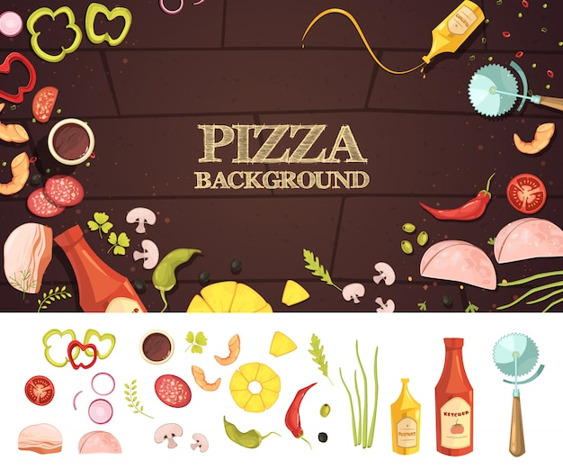 Pizza cartoon style concept with ingredients on brown background
