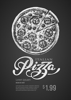 Пицца. рисунок мелом и надписи на доске. глобальные цвета rgb
