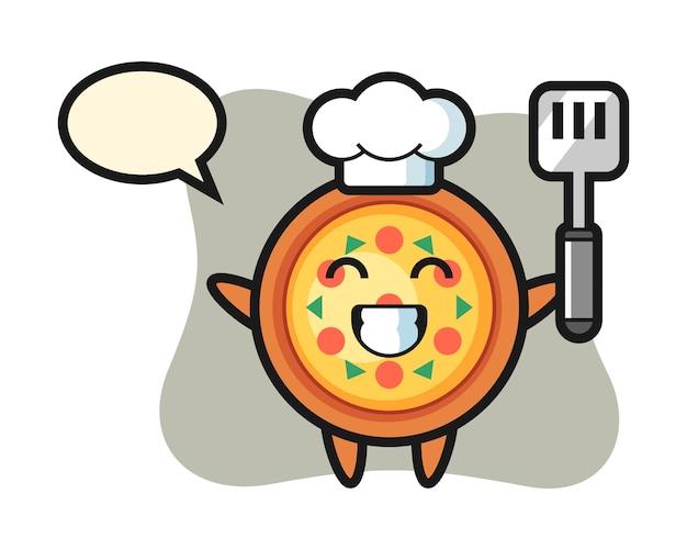 요리사가 요리하는 피자 캐릭터