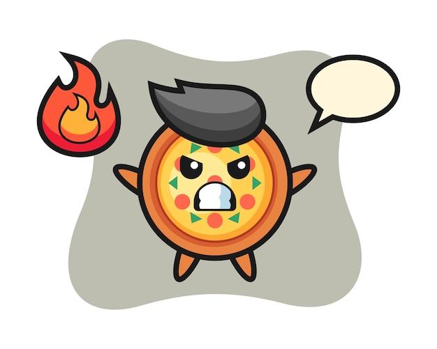 怒っているジェスチャーでピザキャラクター漫画