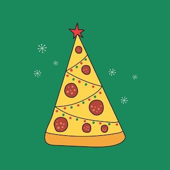 상단에 별이 있는 피자 크리스마스 트리 벡터 평면 그림디자인 카드 포스터에 적합
