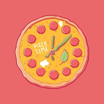 Pizza clock with pepperoni design vector illustration food funny delivery design concept
