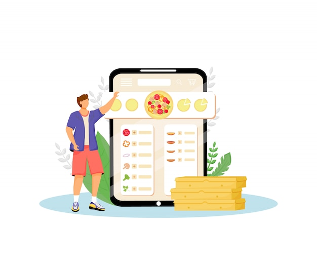 Pizza constructor, fast food online ordering flat concept illustration. customer, man choosing ingredients 2d cartoon character for web design. pizzeria internet service creative idea