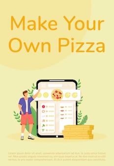 Конструктор пиццы, плоский шаблон плаката онлайн-заказа. брошюра по выбору ингредиентов для выпечки, буклет на одну страницу с героями мультфильмов. флаер по приготовлению фаст-фуда, буклет