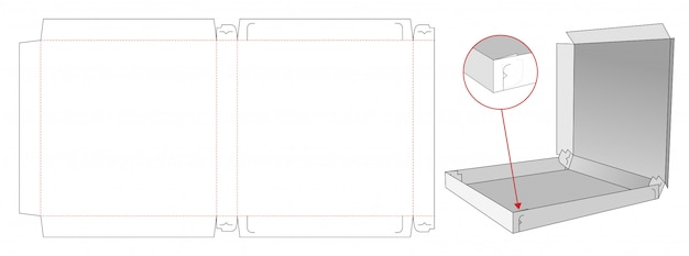Pizza container box die cut template