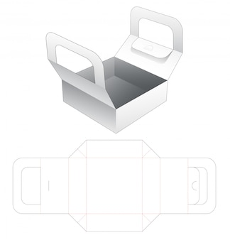 Pizza container with holder die cut template