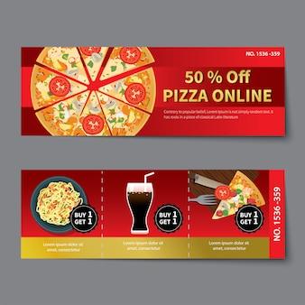 Pizza coupon discount template flat design