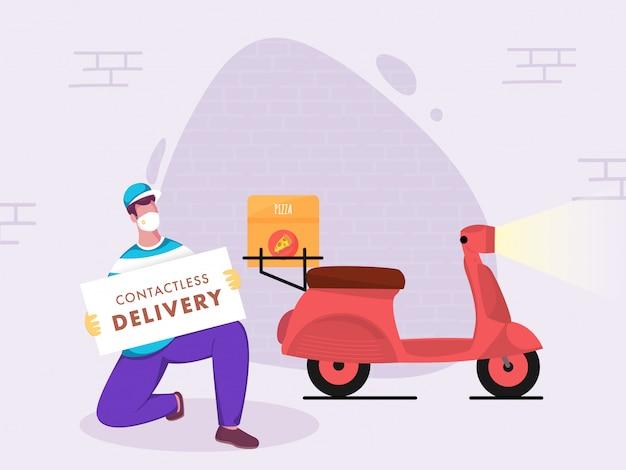 Курьер пиццы держит доску объявлений о бесконтактной доставке и скутере для предотвращения коронавируса.