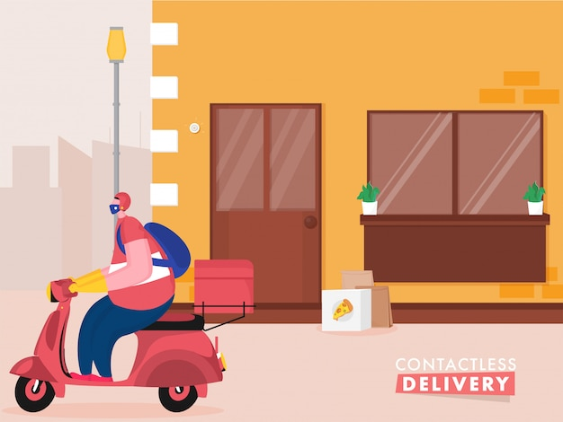 コロナウイルス中に非接触配達のために小包をドアに置いてスクーターに乗るピザ宅配便男。