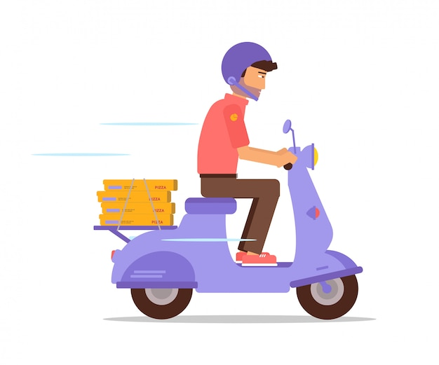 Pizza courier riding motorbike  character, delivery guy riding scooter wearing protective helmet