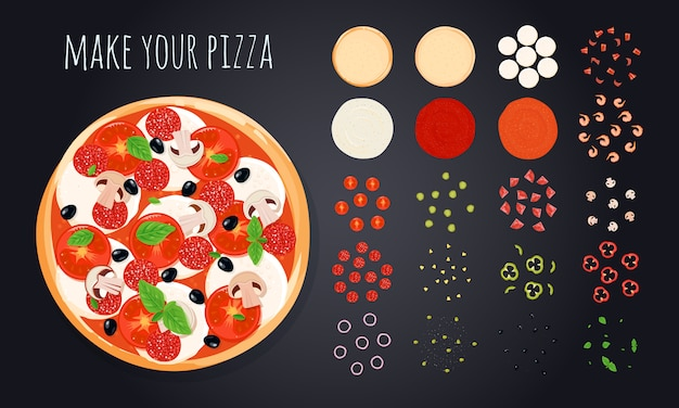 Pizza create decorative icons set with round pizza image