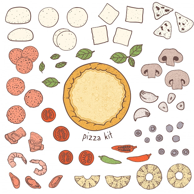 Pizza crust and toppings, sketching illustration