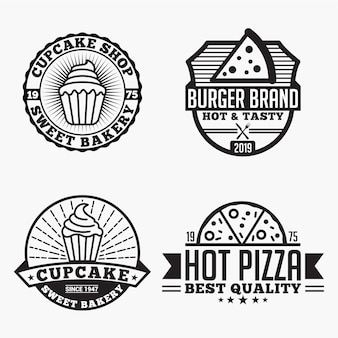 Pizza cupcake logos badges
