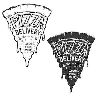 ピザの宅配。レタリングが入ったピザ。ロゴ、ラベル、エンブレム、看板、ポスターの要素。図。