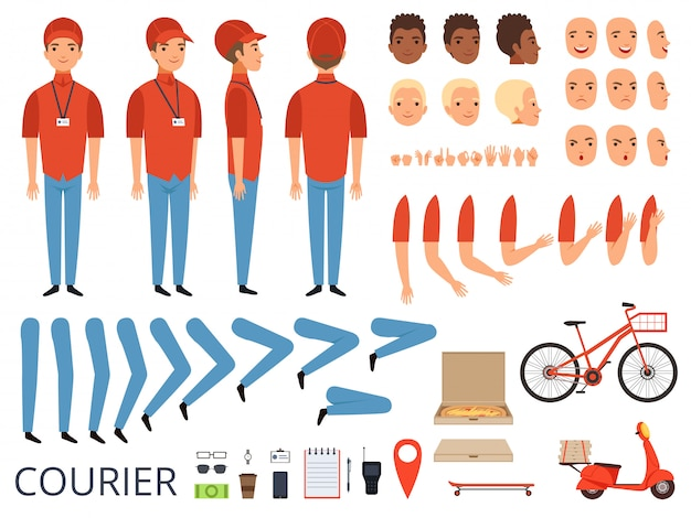 Pizza delivery animation. fast food courier body parts with professional items box bike  character creation kit