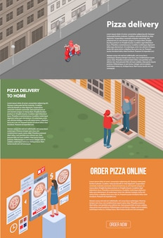 Pizza delivery banner set. isometric set of pizza delivery vector banner for web design