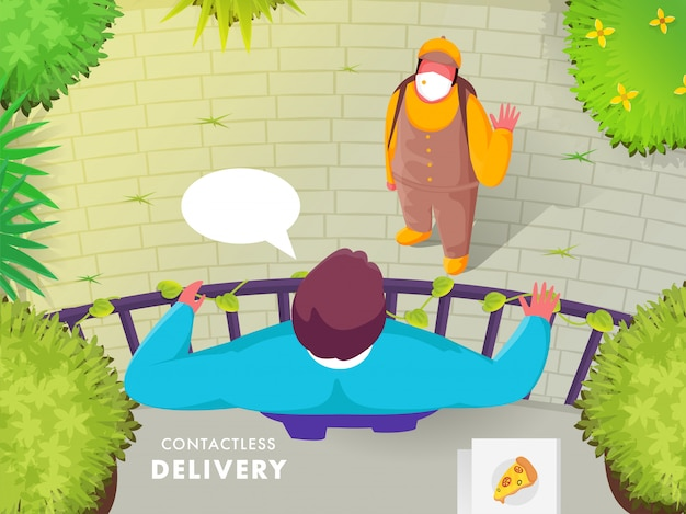 Pizza delivery boy talking to customer man standing at roof with nature view for contactless delivery concept.