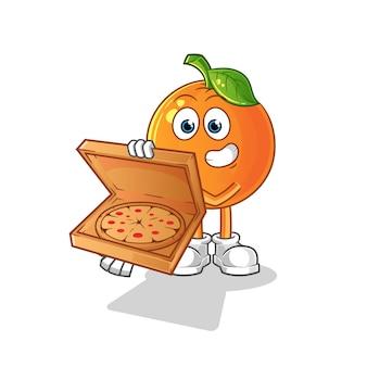 Вектор мальчик доставки пиццы. мультипликационный персонаж