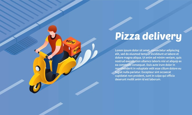 Pizza delivery concept banner, isometric style