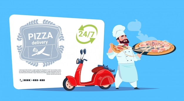 Pizza delivery emblem concept chef cook hold box with hot dish standing at red motor bike template banner with copy space