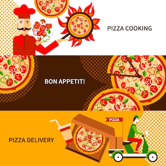 Pizza delivery flat horizontal banners set