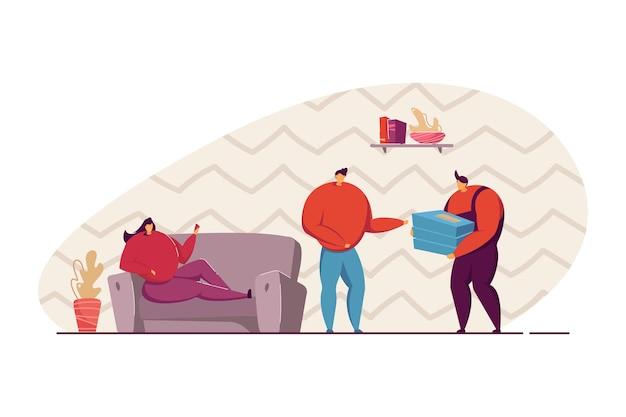 피자 배달 평면 벡터 일러스트 레이 션. 배달원을 만나는 여자, 피자를 주문하는 여자 친구. 테이크아웃 음식, 배너, 웹 사이트 디자인 또는 방문 웹 페이지에 대한 배달 서비스 개념.