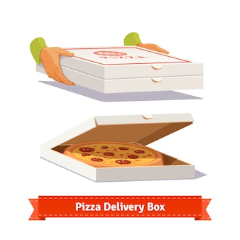 Pizza delivery. handing a pizza boxes Free Vector