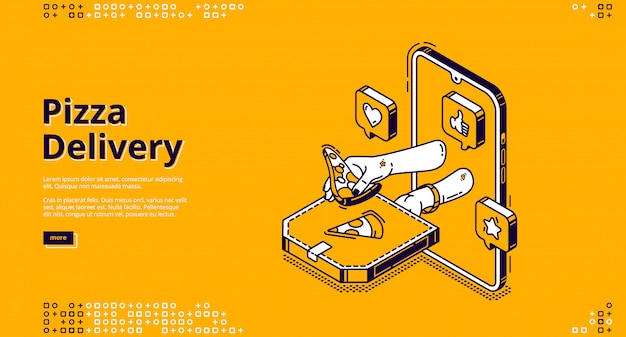 Pizza delivery isometric landing page, fast food