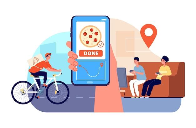 ピザ配達人。フードボックスを持って自転車に乗っている少年、顧客に乗る。オンラインベクトルの概念を追跡するトラック注文のためのスマートフォンアプリ。ピザ付きイラスト宅配便、宅配便